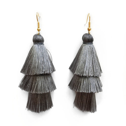 DARK GREY- LAYERED DROP EARRING - Fringe With Benefits