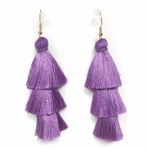 PURPLE -LAYERED DROP EARRINGS - Fringe With Benefits