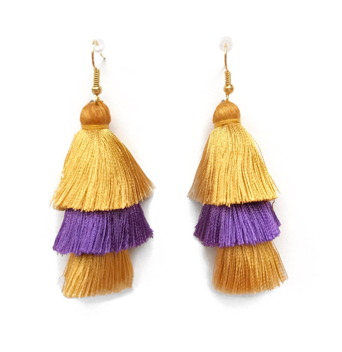 GAMEDAY GOLD/PURPLE - LAYERED DROP EARRINGS