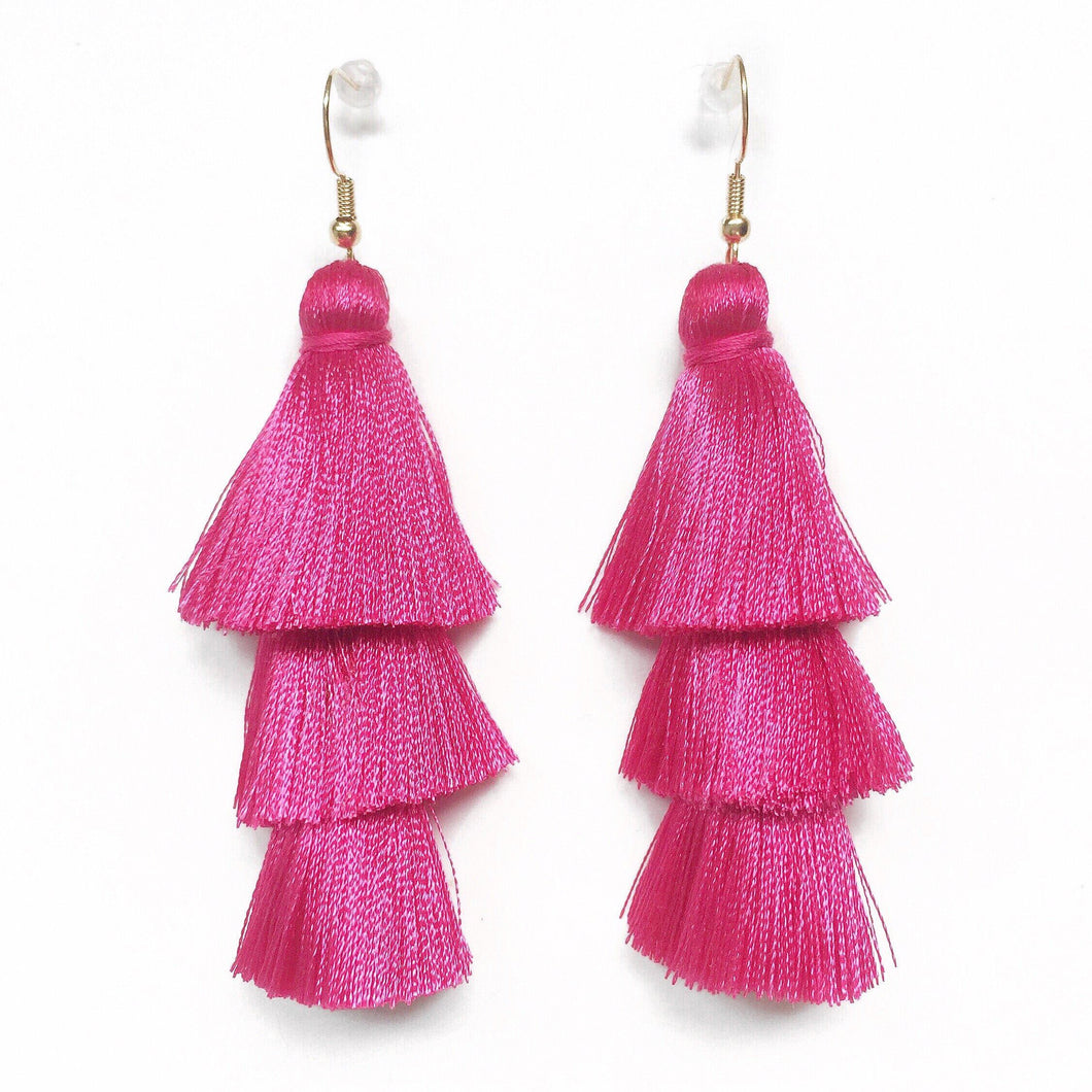 PINK - LAYERED DROP EARRINGS - Fringe With Benefits
