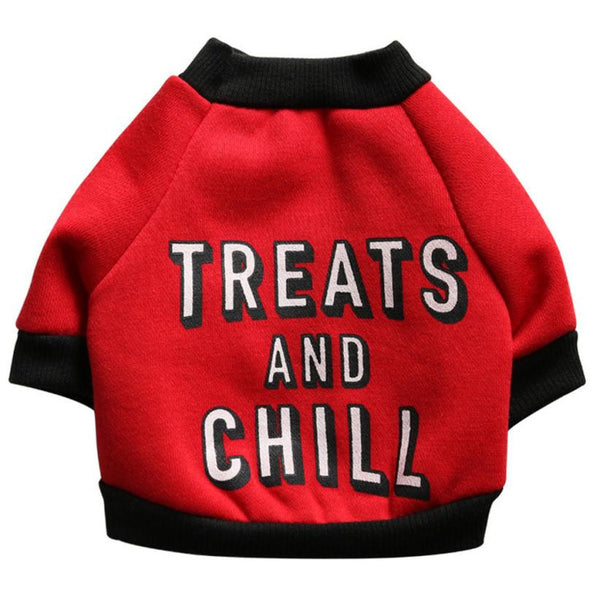 "Dog Sweater ""Treats And Chill"""