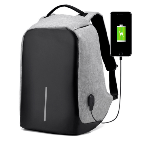Grand Happy Store Gray / 1 Qty Very Useful Anti-theft Backpack, with USB input for Men and Women.
