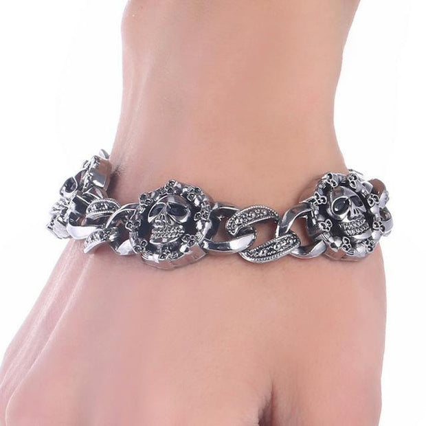 Grand Happy Store Skull Bracelet 5 / 1 QTY Fashion Stainless Steel Skull Bracelet