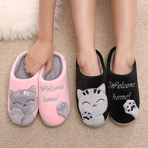 Grand Happy Store Women  Slippers Warm Cat Winter