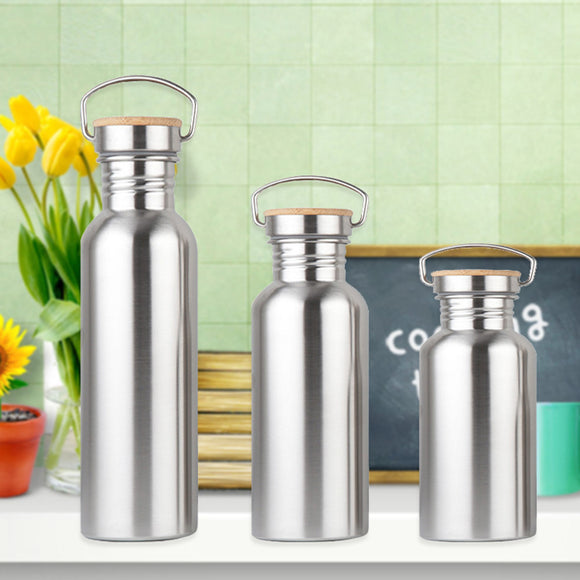 Leak-Proof Food Jar Flask Stainless Steel Water Bottle Bamboo Lid Sports For Travel Yoga Cycling Hiking Camping 350/550/750ml