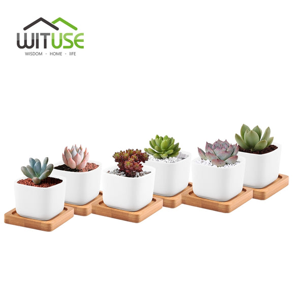 Mini Square Ceramic Flower Pots Succulent Planters with Bamboo Tray Home Decor Modern Decorative Small White Plant Pot