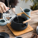 Zen Japanese Simplicity Teapot Pottery Tea Utensils Teapots Large Capacity Kettle Pacifier Bamboo Handle