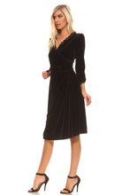 Women's Velvet Scallop Lace Trim Wrap Dress - Rated Star