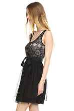 Women's Lacy Tulle Dress with Waist Tie