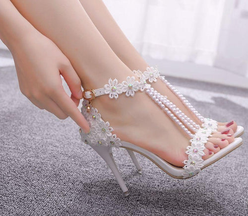 Julya Lace Flower Pearl Heels - Rated Star