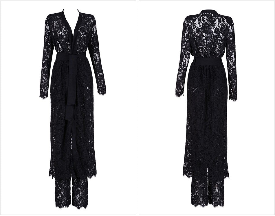 Luxury Black Lace Coat - Rated Star