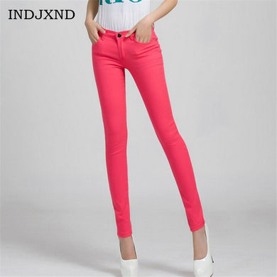 Cotton Mid-Waist Skinny Jeans (More Colors Available)