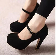 women's Pumps 2016 spring autumn Single shoes princess shoes round head thick with waterproof suede high heels