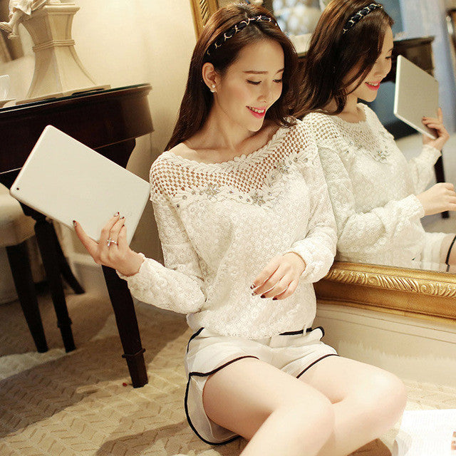 Long Sleeve White Lace Shirt