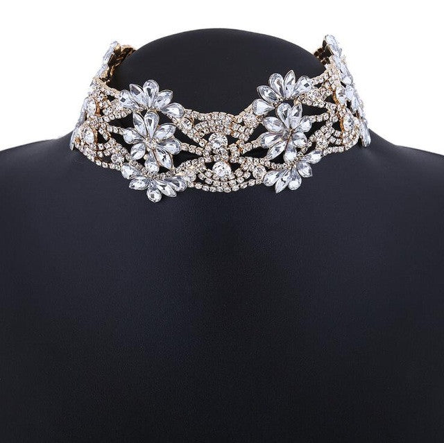 Crystal Collar Choker Necklace (More Colors Available)