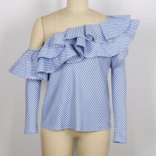 Shoulder Ruffle Striped Off Shoulder Top - Rated Star