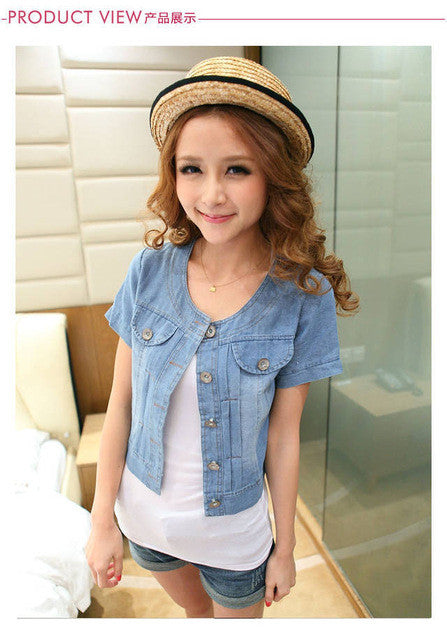 Round Neck Short Denim Jean Jacket - Rated Star