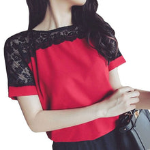 Lace Chiffon Short Sleeve Top  (More Colors Available) - Rated Star