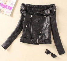 Women Sexy Fashion Off The Shoulder Faux PU Leather Jackets Punk Rock Roll Outerwear Flat Shouders Slim Motorcycle Jacket White - Rated Star