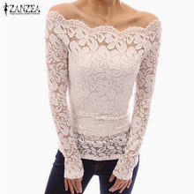 ZANZEA 2017 Spring Sexy Women Blusas Off Shoulder Slash Neck Lace Solid Shirts Long Sleeve Slim Casual Tops Blouse Plus Size - Rated Star