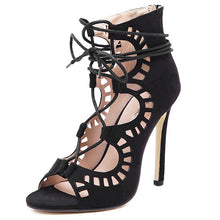 Women Pumps Brand Designer High Heels Cut Outs Lace Up Open Toe Party Shoes Woman Gladiator Sandals Women Ladies Zapatos Mujer - Rated Star