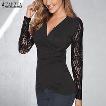 ZANZEA Women Lace Blouses Tops 2017 Autumn Sexy V Neck Long Sleeve Asymmetrical Solid Shirt Fold Side Zipper Casual Slim Blusas