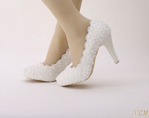 Krista Lace Pearl Platform High Heels (More Colors Available) - Rated Star