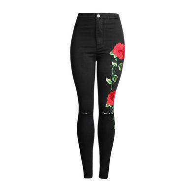 Vintage Style Rose Stretch Jeans
