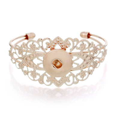 Rose Gold Color Hollowed Lacework Open Snap Button Bracelet - Rated Star