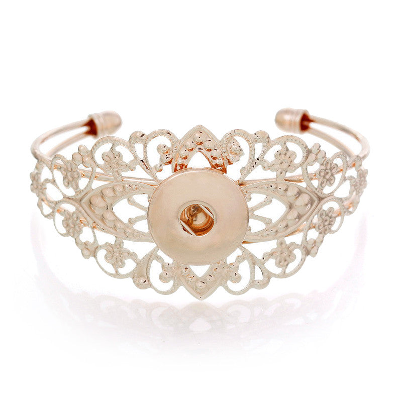 Rose Gold Color Hollowed Lacework Open Snap Button Bracelet