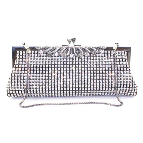 Crystal Black Metal Frame Purse