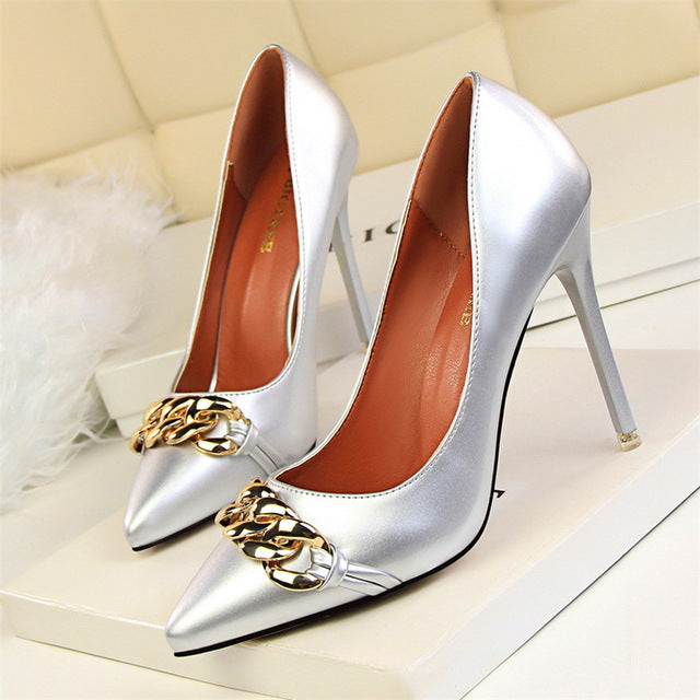 Metal Chain Heels (More Colors Available) - Rated Star