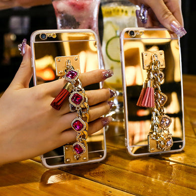 Luxury Bling Glitter Bracelet Crystal Tassel TPU Case For iPhone X 10 8 7 6 6S Plus Phone Cases For iPhone X Mirror Cover (More Colors Available) - Rated Star