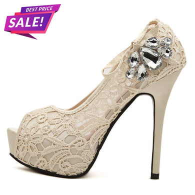 Lissy Lace Peep Toe Stiletto High Heels (More Colors Available) - Rated Star