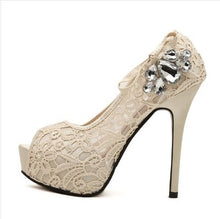 Lissy Lace Peep Toe Stiletto High Heels (More Colors Available)