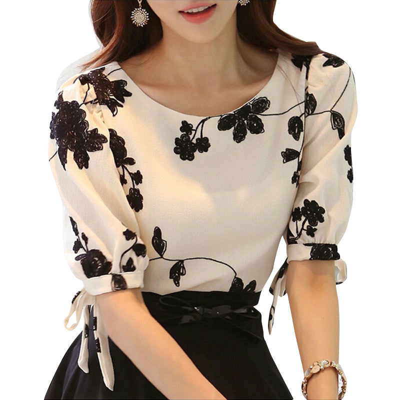 Women Shirt Summer Top Floral Black Embroidered White Slim Chiffon Blouse Casual Plus Size Bow Half Sleeve Shirt Women Clothing - Rated Star