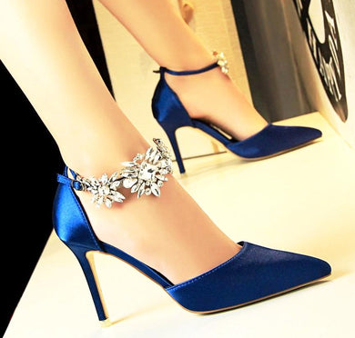 Rhinestone Daisies Heel Pumps (More Colors Available) - Rated Star