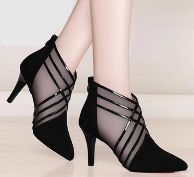 Laina Lace Stripe High Heels (More Colors Available) - Rated Star