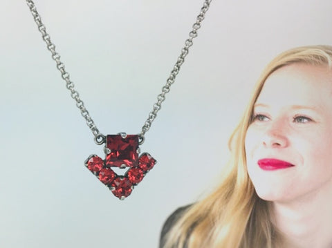HOUSE Princess Necklace, Antique Silver and Scarlet, Brand Styling Collection