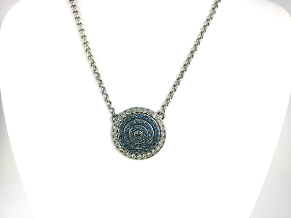 Crystal Clear And Denim Blue Tier Medallion Necklace, Antique Silver