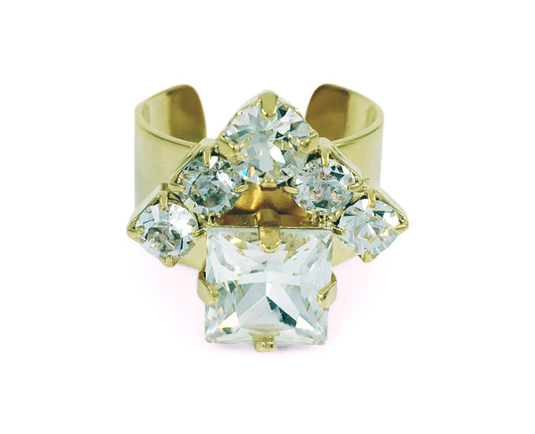 Crystal Clear HOUSE Ring, Gold