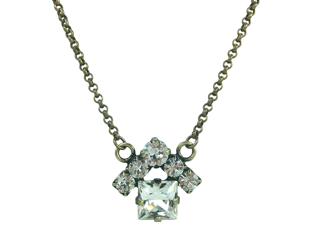 Real Estate Fashion Jewelry. The House Necklace by Mesa Jewelry featuring Swarovski crystal clear crystals.