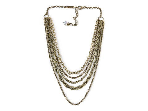Trendy Multi Layer Chain Necklace, Antique Brass