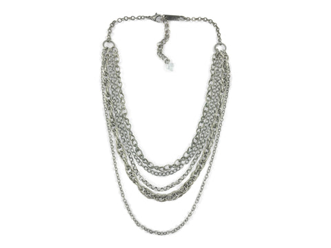 Trendy Multi Layer Chain Necklace, Antique Silver