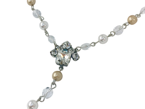 Real Estate Fashion Jewelry. The House Necklace by Mesa Jewelry featuring Swarovski pearls and crystals.