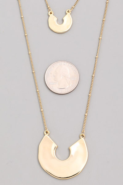 Layered Solid U Shaped Pendant Necklace
