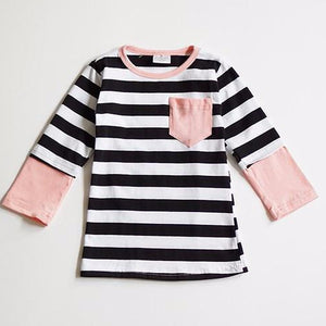 Black and White Stripe 3/4 Tee with Pink Accent