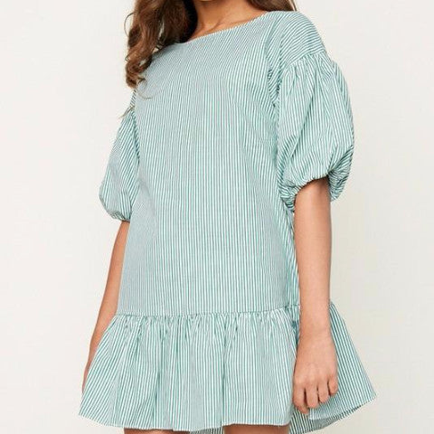 Green Stripe Puff Sleeve Dress