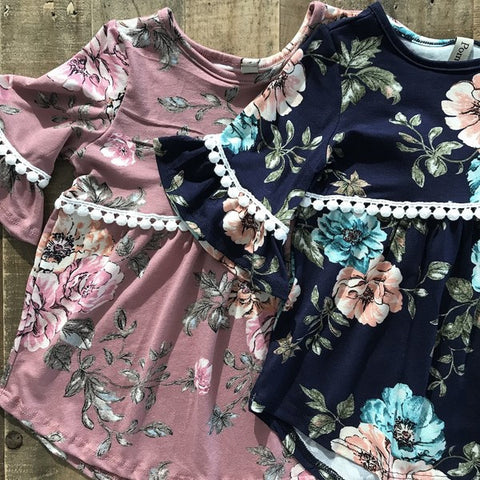 Toddler Floral Print Baby Doll Top with Pom Poms