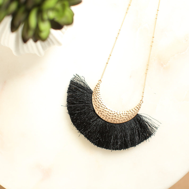 Hammered Crescent Moon Black Fringe Pendant Necklace